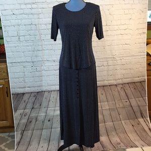 Dress Barn 2-piece navy polka dot skirt set